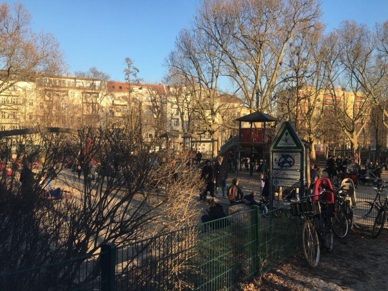 a big playground for families in Neukölln, with many children
